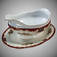 Vintage Gravy Boat - Old Gravy Bowl with Attached Drip Tray - Decorative China