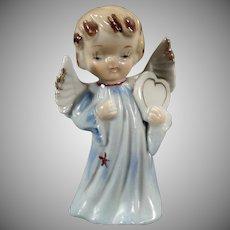 Vintage Porcelain Angel Figure - Sweet Blonde Angel Carrying a Heart