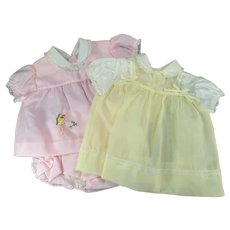 Two Vintage Baby Outfits One Pink and One Yellow - Good Doll Clothes