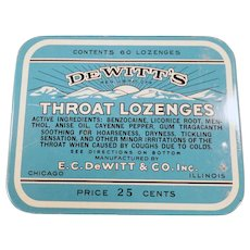 Vintage Medicine Tin - De Witt's Throat Lozenges Tin - 25c 60 Count Size - Old Advertising
