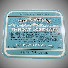 Vintage De Witt's Throat Lozenges Tin - Old Medical Advertising