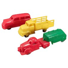 3 Vintage Plastic Banner Toy Vehicles – Station Wagon Car and 2 Trucks