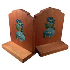 Vintage Bookends - Old Wood Bookends with Blue Flower Decals - Fun Shabby Chic Look