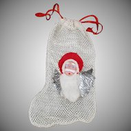 Vintage Christmas Stocking - Old Net Stocking Candy Container/Ornament with Santa Claus Face