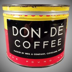Vintage 1# Keywind Coffee Tin - Weil Don-De Tin - Cleveland Ohio