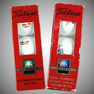 Old Titleist Golf Balls - Two sleeves of 3 with Different Advertising Logos - Ore-Ida and Albertson's