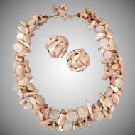 Vintage Costume Jewelry Suite - Pastel Pink Mother of Pearl Choker Necklace and Earring Set - Japan