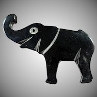 Vintage Plastic Lapel Pin - Lucky Elephant Pin in Deco Style