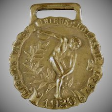 Vintage Track and Field Sports Medal - 1920 Javelin