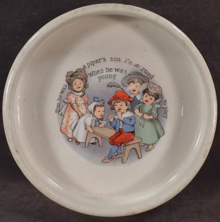 Vintage Baby Bowl - Tom the Piperu0027s Son - Old ABC Nursery Rhyme Dish & Vintage Baby Bowl - Tom the Piperu0027s Son - Old ABC Nursery Rhyme Dish ...