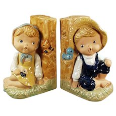 Vintage Bookends - Old Enesco Pottery - Country Boy and Girl Figures
