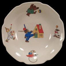 Child's Vintage Bowl – Marching Bear, Circus Clown and Monkey