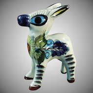 Vintage Mexican Pottery - Pinata Donkey Figurine - Colorful Burro