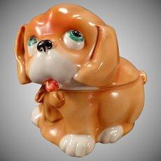 Vintage Dresser Box - Old Porcelain Puppy Dog - Germany