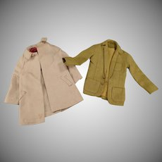 Vintage Doll Clothes – Old Sport Jacket and Over Coat for Mattel's Ken Doll – Both with Labels