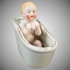 Vintage Porcelain Bisque Baby Figurine in Old Bathtub – Made in Germany