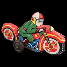 Vintage Tin Toy - Colorful and Tiny Motorcycle - Old Japanese Tin