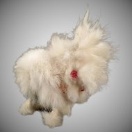 Vintage Jumping Rabbit Wind Up Toy – Fuzzy Rabbit Fur Bunny with Pink Eyes