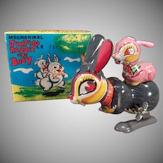 Vintage Jumping Rabbit with Baby – Old Mechanical Wind Up Toy with Box – See it Work on Facebook