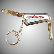 Vintage Automotive Accessory - Old Buick Wildcat Keychain - Uncut Key with Pocket Knife