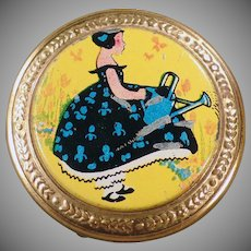 Vintage Compact - Small Old Compact -  Colorful with Little Girl on the Lid
