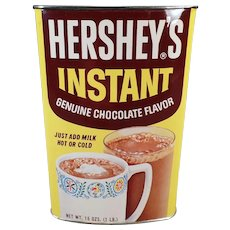 Vintage Hershey Instant Cocoa Tin – Colorful Tin with Good Graphics – Old Advertising Collectible