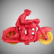 Vintage Auburn Rubber Toy - Small Old Rubber Motorcycle Toy