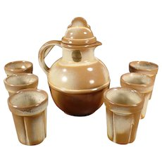 Vintage Frankoma Pottery - Old Guernsey Juice Pitcher with Six Matching Juice Cups