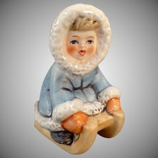 Vintage Goebel Figurine- Wintertime – Little Girl in Blue on Sled