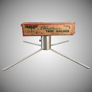 Vintage Christmas Tree Holder –  Small Aluminum Tree Holder Possible for a Feather Tree - 1950's