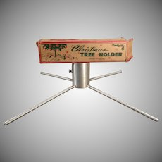 Vintage Small Aluminum Christmas Tree Holder Possible for a Feather Tree - 1950's