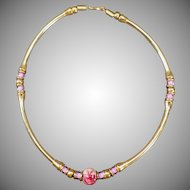 Vintage Choker Necklace – Gold Tone and Pink Beads