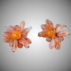 Vintage Costume Jewelry - Old Clip Earrings - Milky Opalescent Orange - West Germany