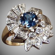 Ladies Vintage Cocktail Ring Gold, Blue Topaz and Diamonds - Size 7+
