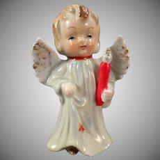 Vintage Porcelain Angel - Blonde Angel Carrying a Candle - Old Christmas Figurine