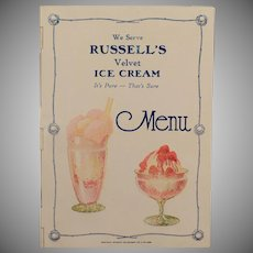 Vintage Menu Cover - Old Celluloid Advertising for Russell's Ice Cream - Early 1900's