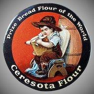 Vintage Celluloid Pocket Mirror - Old Advertising Mirror - Ceresota Flour
