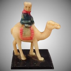 Vintage Celluloid Miniature – Tiny Camel with Rider – Little Celluloid Toy