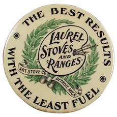 Vintage Advertising Mirror - Old Laurel Stoves Celluloid Mirror