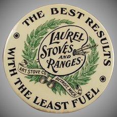 Vintage Advertising Mirror - Old Laurel Stoves Celluloid Mirror