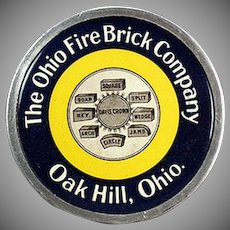Vintage Celluloid Paperweight - Old Ohio Fire Brick Company Advertising