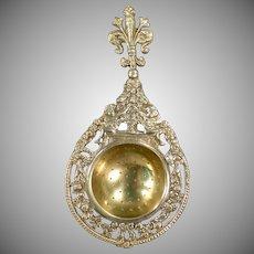 Vintage Cast Brass Italian Tea Strainer - Ornate Design with Cherubs
