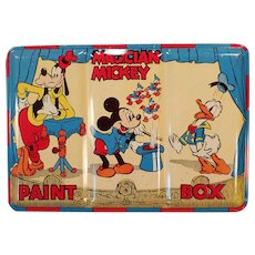 Vintage Magician Mickey Mouse Paint Box - Water Color Paint Set in Colorful Tin