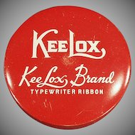 Vintage Ribbon Tin - Old KeeLox Typewriter Ribbon Tin - Red