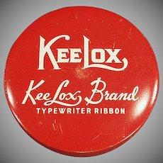 Vintage Ribbon Tin - Old KeeLox Typewriter Ribbon Tin - Red