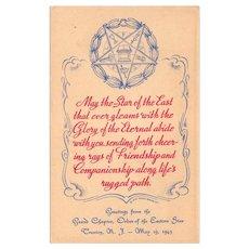 Vintage Eastern Star Postcard – Old Masonic Postcard 1943 Grand Chapter Trenton New Jersey