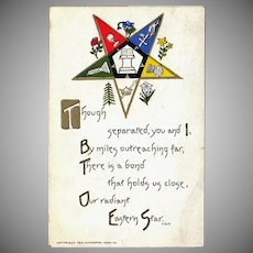 Vintage 1912 Eastern Star Postcard – Old Masonic Fraternity Bond Postcard