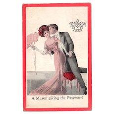 Vintage Masonic Postcard – Romantically Fun Old Postcard – A Mason Giving the Password