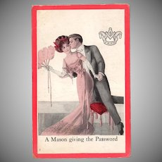 Vintage Masonic Postcard – Romantically Fun Old Postcard – A Mason Giving the Password