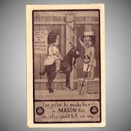 Vintage Masonic Postcard – Lodge for Kids Riding the Goat – A Mason Never Tells